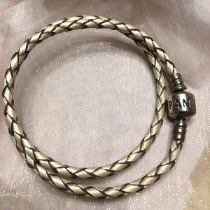 Authentic Leather Double Wrap Pandora Bracelet